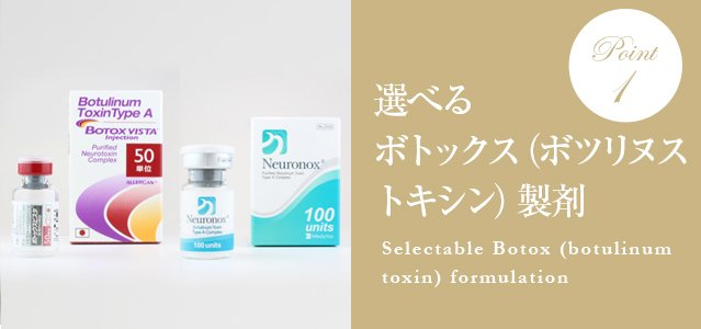 選べるボトックス(ボツリヌストキシン)製剤